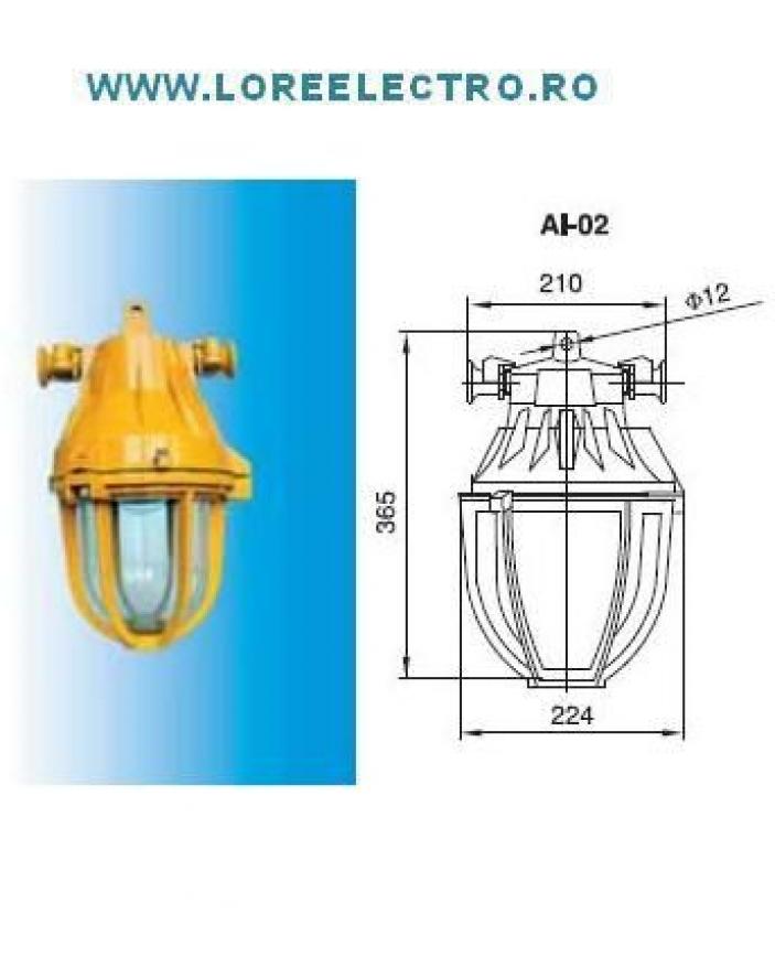 Corp de iluminat antiex tip AI 02 105W cu bec ECO HALOGEN Inlocuitor pentru Corp de iluminat antiex cu bec incandescent 100W, 150W, 200W tip LMS7-105, protectie antideflagranta, protectie antiex